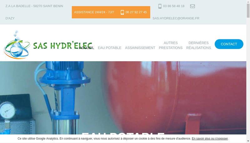 Capture d'écran du site de Hydr Elec