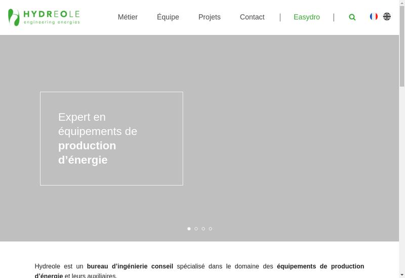 Capture d'écran du site de Hydreole