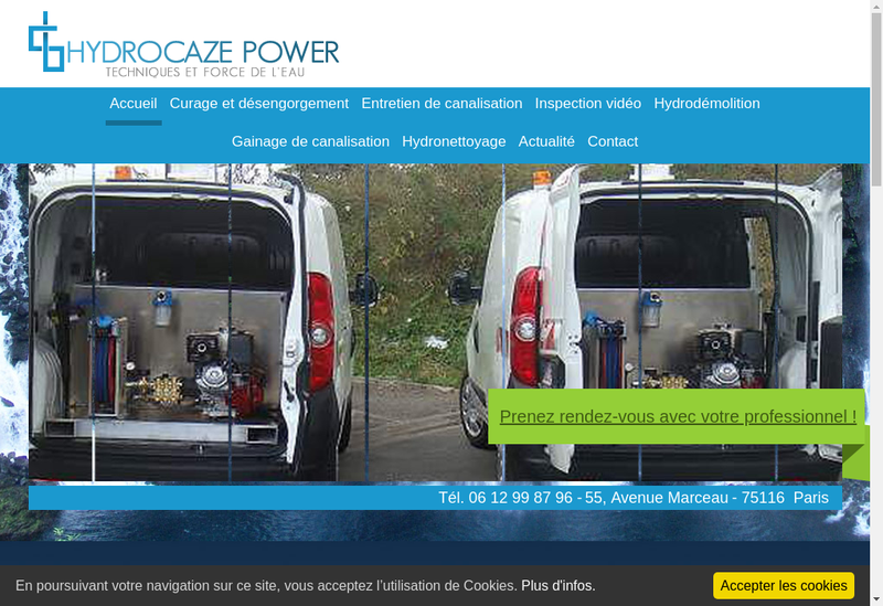 Capture d'écran du site de Hydrocaze Power