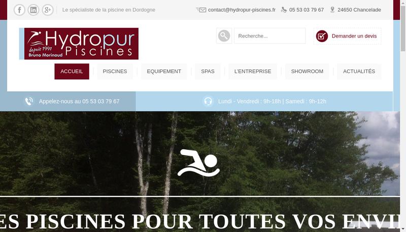 Capture d'écran du site de Hydropur Piscines