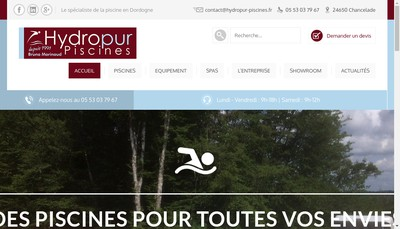 Site internet de Hydropur Piscines