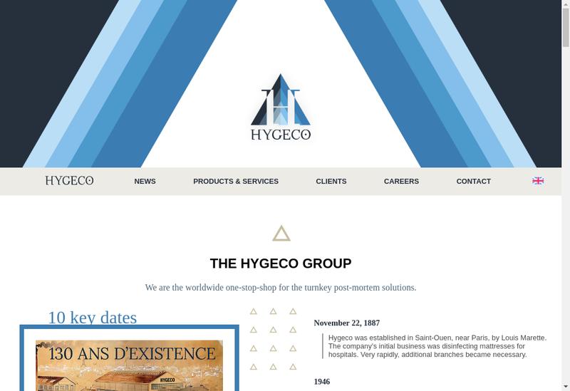Capture d'écran du site de Hygeco International Produits
