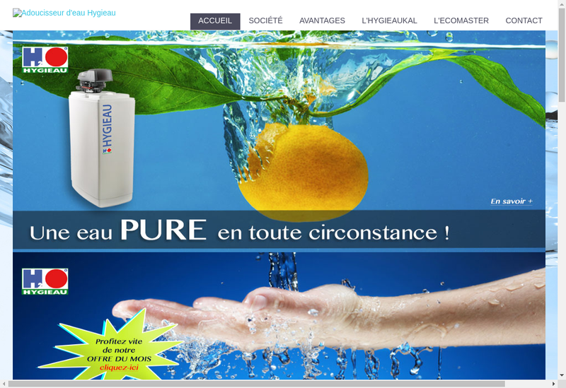 Capture d'écran du site de Hygieau France