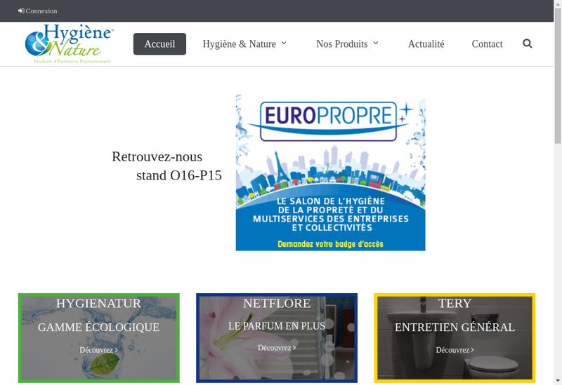 Capture d'écran du site de Hygiene & Nature