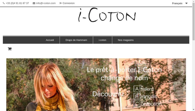 Capture d'écran du site de I Coton