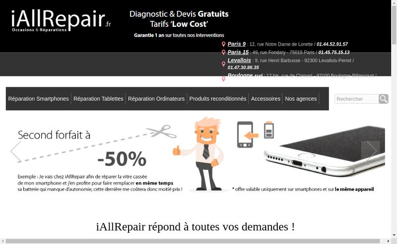 Capture d'écran du site de Iallrepair