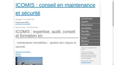 Capture d'écran du site de Icomis