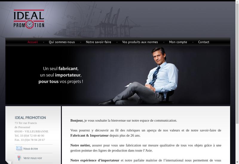 Capture d'écran du site de Ideal Promotion