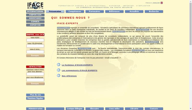 Capture d'écran du site de Iface Experts