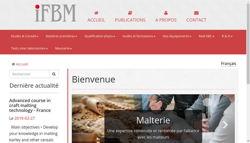 Capture d'écran du site de Institut Fr Boissons Brasserie Malterie