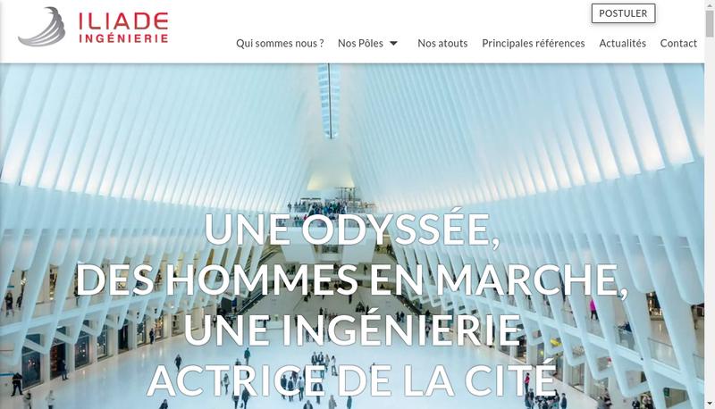 Capture d'écran du site de Iliade Ingenierie