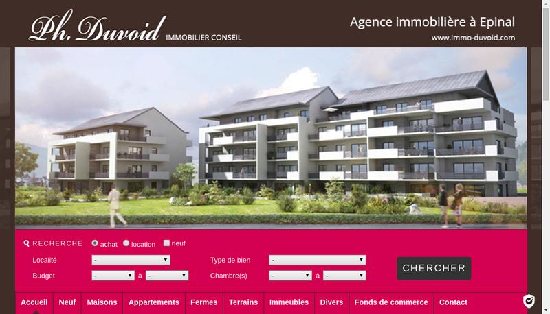 Capture d'écran du site de Duvoid Immobilier