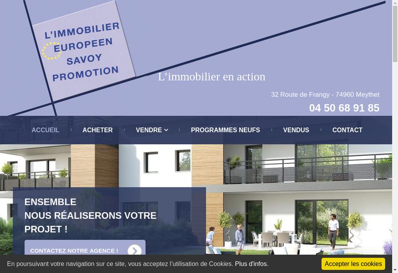 Capture d'écran du site de L'Immobilier Europeen Savoy Promotion