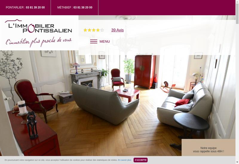 Capture d'écran du site de L'Immobilier Pontissalien