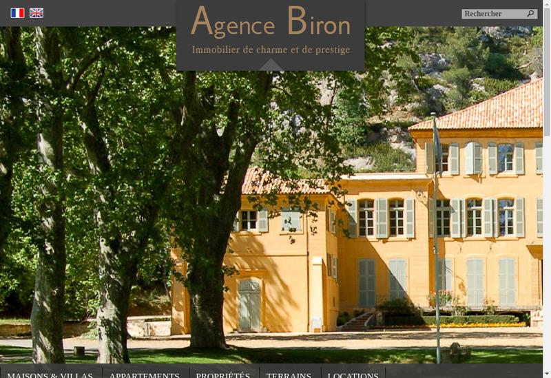 Capture d'écran du site de Agence Biron
