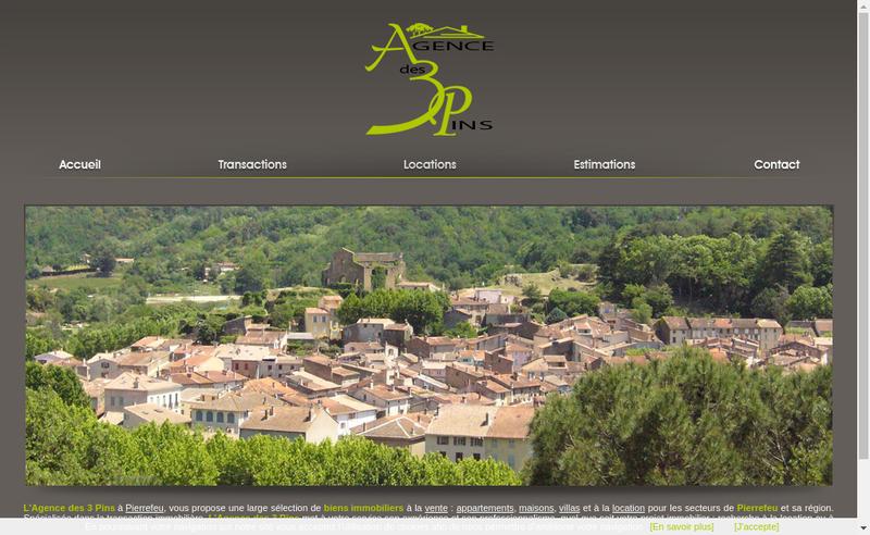 Capture d'écran du site de Agence des 3 Pins