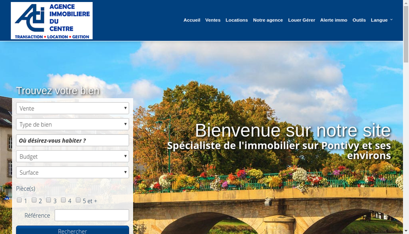 Capture d'écran du site de Agence Immobiliere du Centre