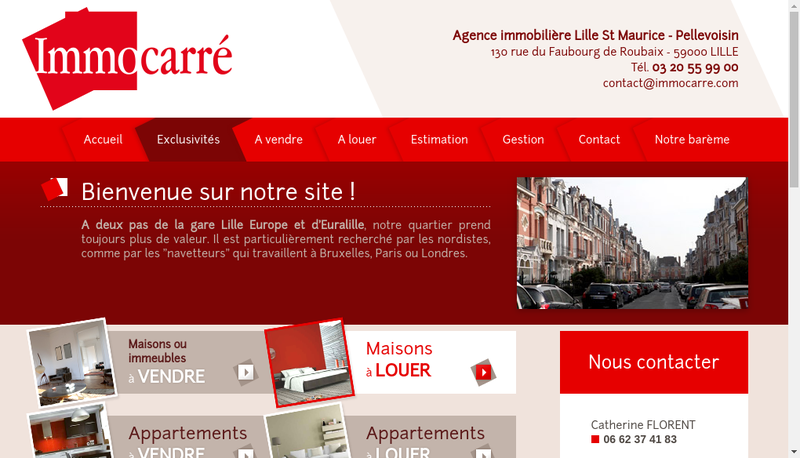 Capture d'écran du site de Immocarre