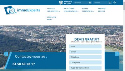 Capture d'écran du site de Immoexperts