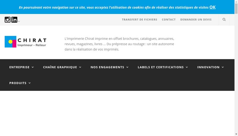 Capture d'écran du site de Imprimerie Chirat