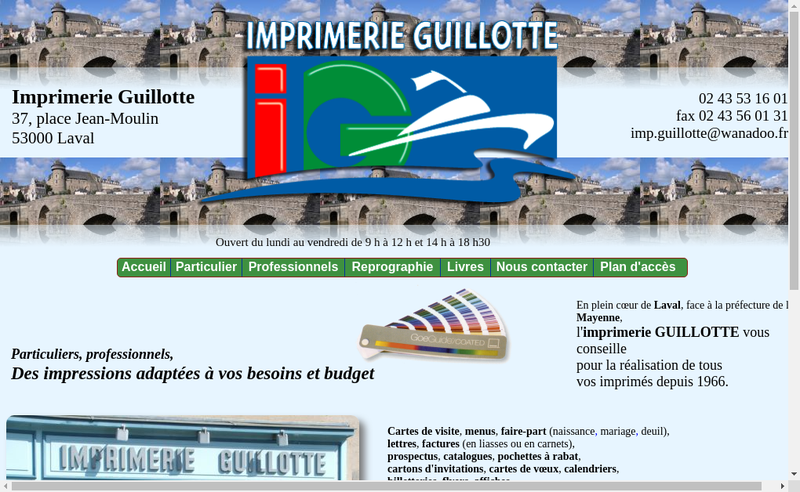 Capture d'écran du site de SARL Imprimerie Guillotte