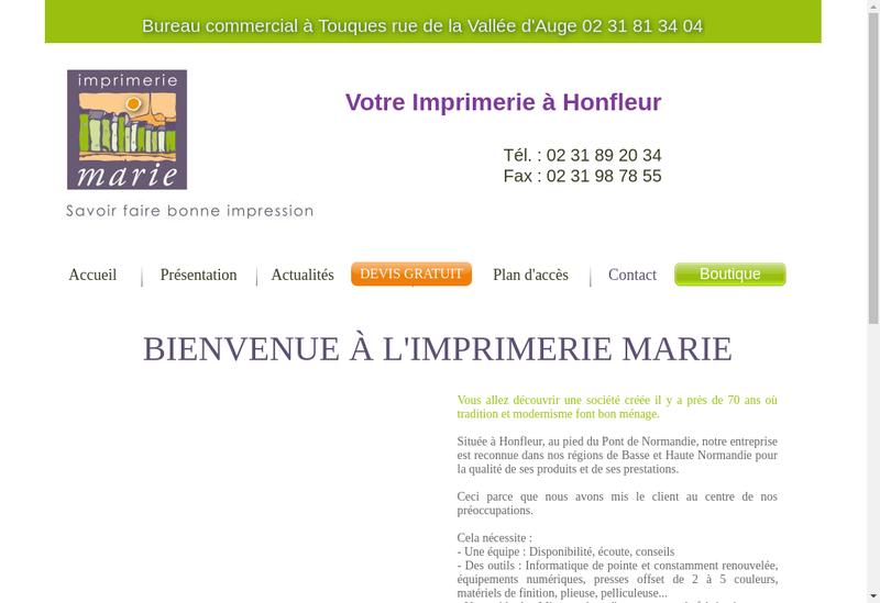 Capture d'écran du site de Imprimerie Marie