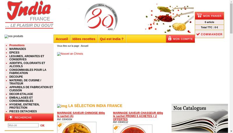 Capture d'écran du site de India France