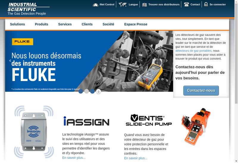 Capture d'écran du site de Industrial Scientific France