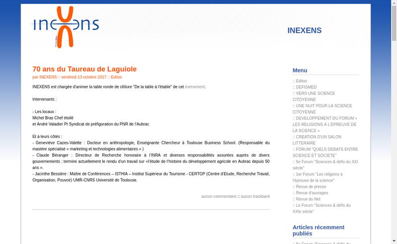 Capture d'écran du site de Inexens