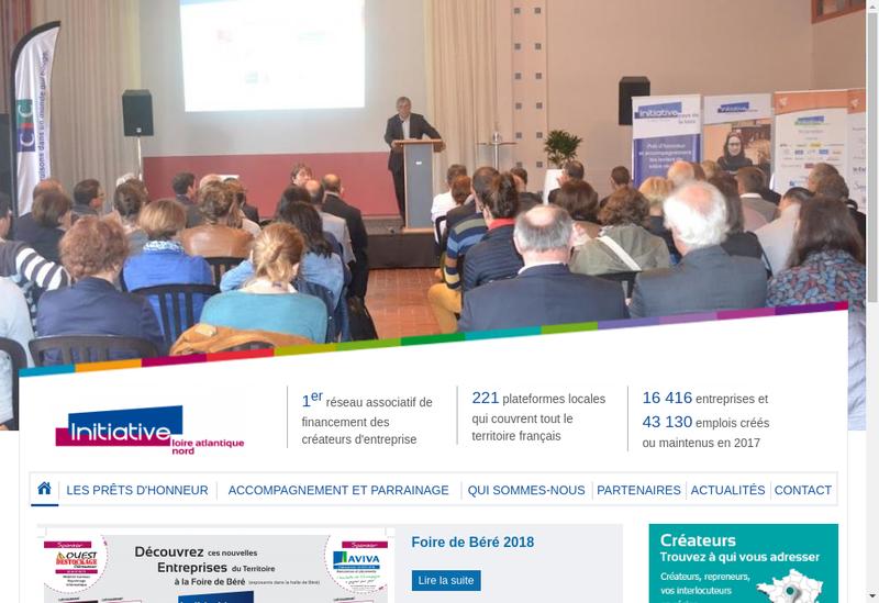 Capture d'écran du site de Initiative Loire Atlantique Nord
