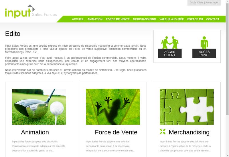 Capture d'écran du site de Input Sales Forces