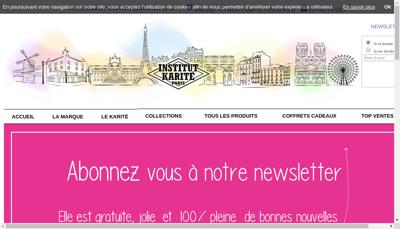 Capture d'écran du site de Institut Karite Paris