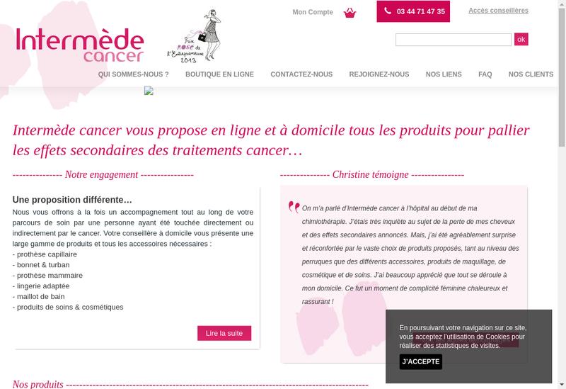 Capture d'écran du site de Intermede Cancer