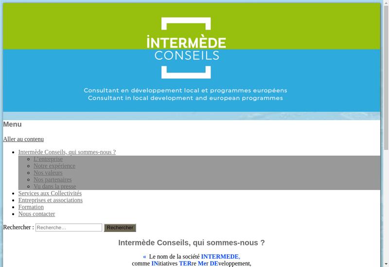 Capture d'écran du site de Intermede Conseils