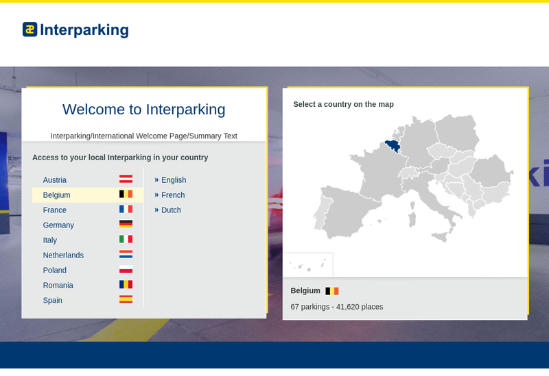 Capture d'écran du site de Interparking France