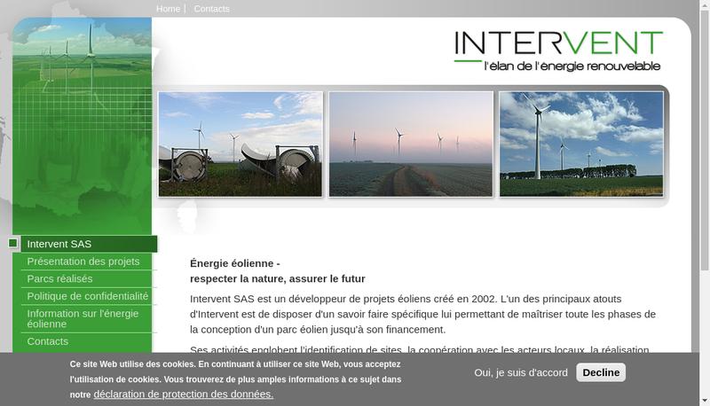 Capture d'écran du site de Intervent