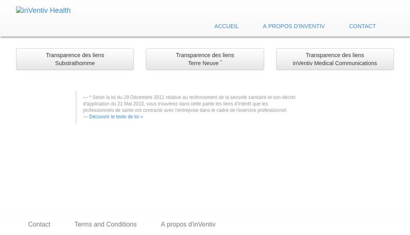 Capture d'écran du site de Inventivhealth Terre Neuve 1