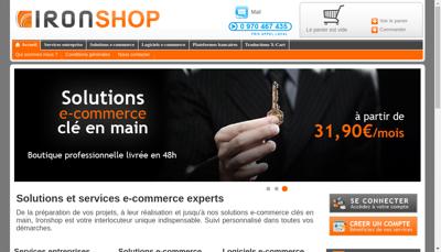 Capture d'écran du site de Ironshop