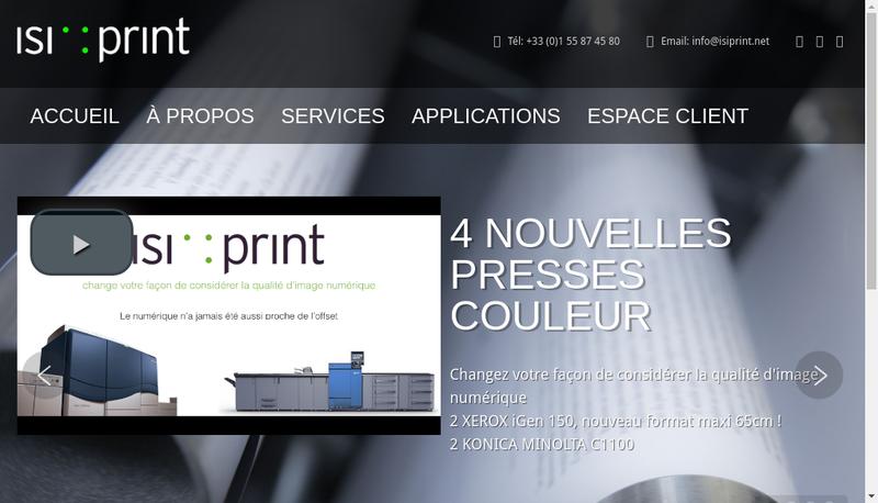 Capture d'écran du site de Isiprint