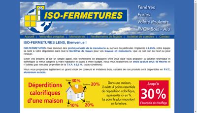 Capture d'écran du site de Iso Fermetures