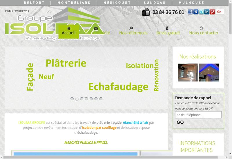 Capture d'écran du site de Isoleaa Groupe