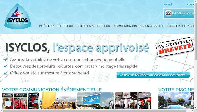 Capture d'écran du site de Isyclos