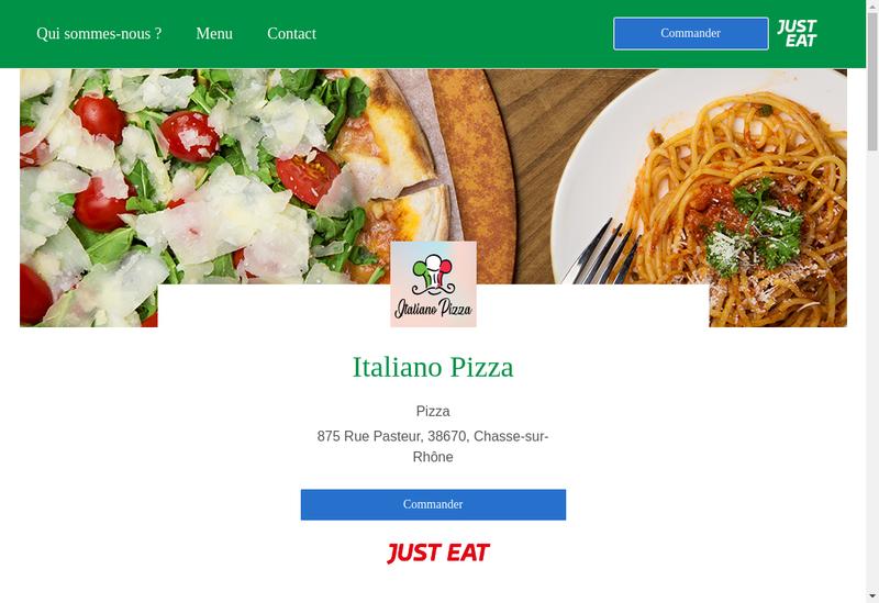 Capture d'écran du site de Italiano Pizza