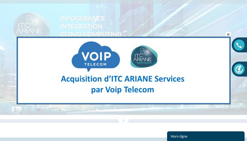 Capture d'écran du site de Itc Ariane Services