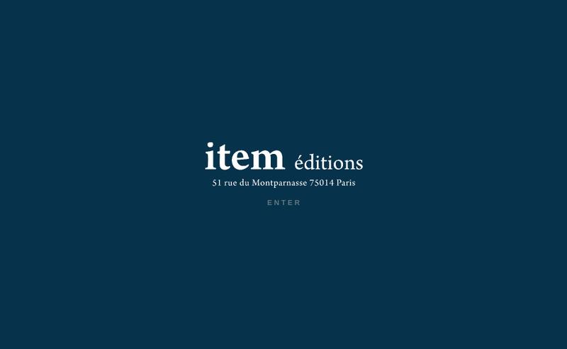 Capture d'écran du site de Item Editions