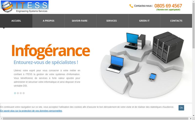 Capture d'écran du site de Itess