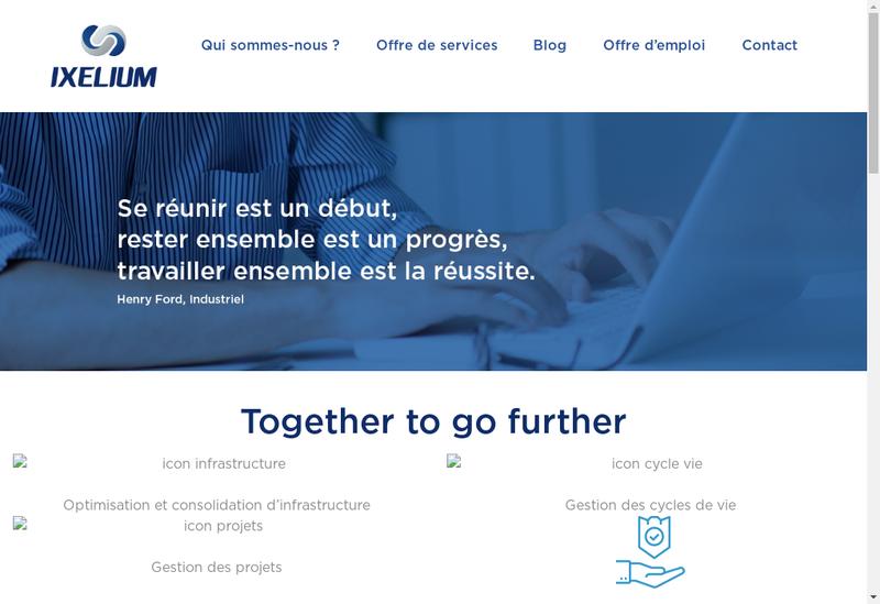 Capture d'écran du site de Ixelium