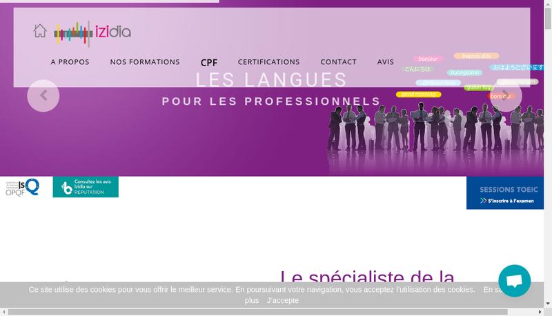 Capture d'écran du site de IZIDIA