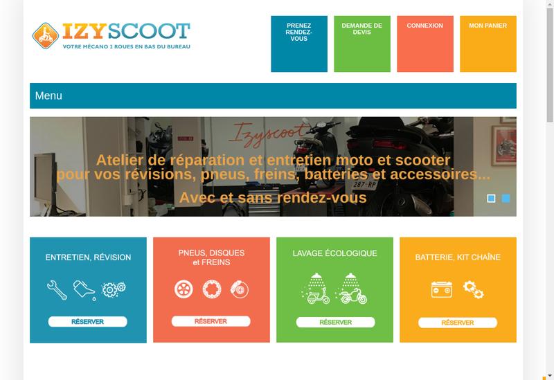 Capture d'écran du site de Izyscoot