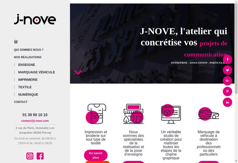 Capture d'écran du site de J Nove Com
